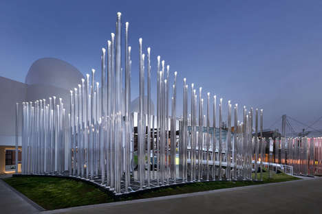 Glowing Pillar Pavilions - This Pavilion by Piuarch Expresses Shared Energy