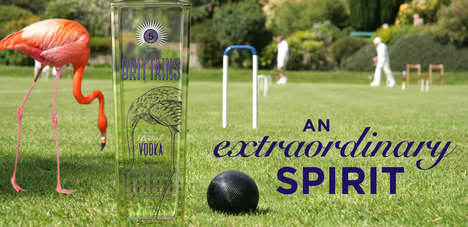 Croquet-Inspired Vodka Branding - The Packaging for Brittains Vodka is an Extraordinary Affair