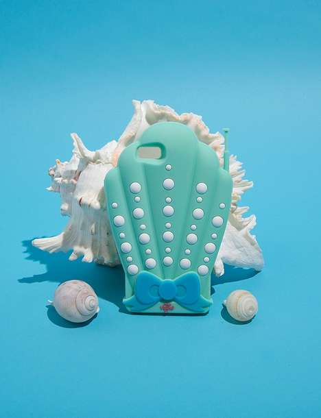 Aquatic Smartphone Accessories - Pixie Market's Seashell iPhone Case Boasts a Turquoise Design