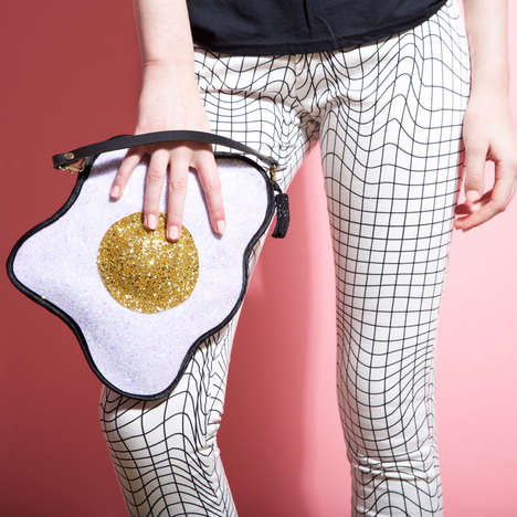 Shimmering Egg Clutches - Luna on the Moon's Glitter Fried Egg Clutch Adds Quirk to Any Wardrobe