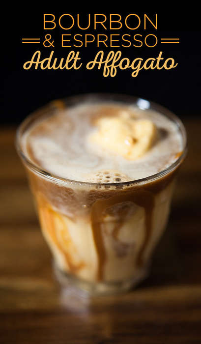 Caffeinated Ice Cream Cocktails - This Alcoholic Affogato Recipe Incorporates Bourbon and Espresso