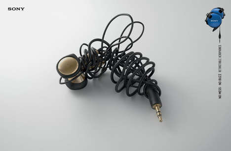 Tangled Headphone Ads - These Insect-Mimicking Wire Ads Promote Sony's Retractable Headphones