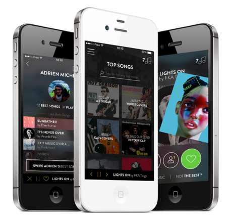 Music Discovery Apps - New Music App The Best Song Uses Tinder-Like Movements to Add Your Songs