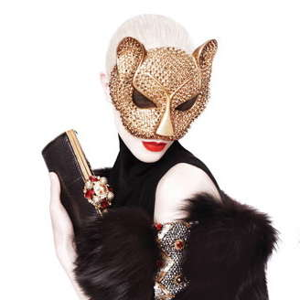 Crystallized Cat Masks - The Deryck Todd Custom Cat Mask Features Dazzling Decal