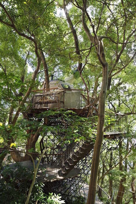 Interlocking Treehouse Hotels - This Hip Japanese Hotel is Located in an Ancient Camphor Tree