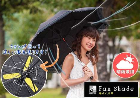 Cooling Fan Umbrellas - The Rurudo is a Cool Umbrella That Provides Shade and Cooling with a Blade