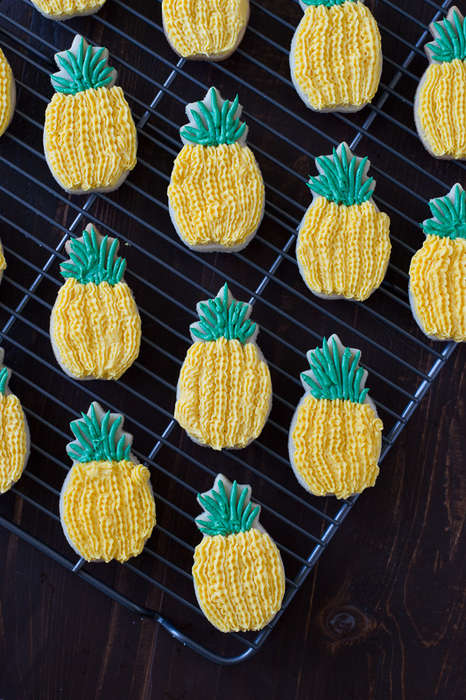 Tropical Pineapple Sugar Cookies - These Adorable Pineapple Cookies are Fun and Easy to Make