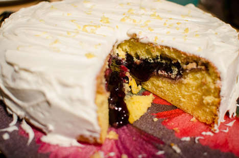 Palatable Pie-Stuffed Cakes - This Pake Recipe Consists of a Blueberry Pie Inside of a Lemon Cake
