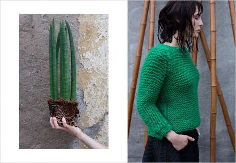 Textural Knitwear Editorials - Marcin Biedron's 'Concrete Green' Image Series Boasts Eco Fashions