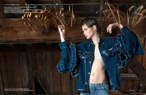 Distressed Denim Editorials - Design Scene's 'Stitching Blues' Series Highlights Raw Denim Clothing