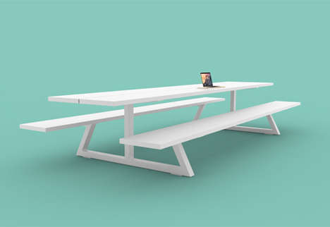 Outdoor Office Tables - The BuzziBreeze is a Picnic-Inspired Work Table for Collaboration