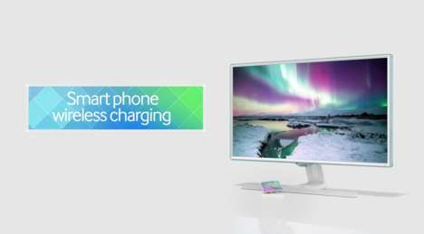 Smartphone-Charging Monitors - The Samsung SE370 Wirelessly Charges Mobile Devices