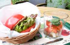 Fresh Caprese Burgers - Japan's Mos Burger Uses Two Tomato Halves as a Bread Substitute