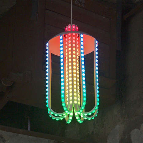Chromatic Tentacle Lights - Dennis Parren's 'Dotted Lamp' Resembles a Living Octopus Light