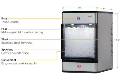 Portable Nugget Ice Machines - The Opal Nugget Ice Maker Creates Three Pounds of Ice in One Hour