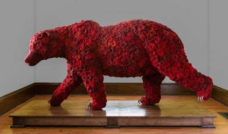 Botanical Bear Sculptures - These Two Bear Statues are Entirely Covered in Wool and Red Roses