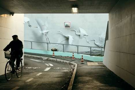 Urban Avian Artwork - These Life-Life Murals Depict Flying Seagulls and Herons