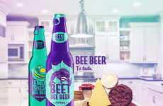 Neon Beer Packaging - The Vibrant Labels for Bee Beer Feature Bold Purple & Bright Turquoise