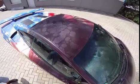 Color-Changing Cars - This Lamborghini Displays an Image of Captain America When Doused with Water