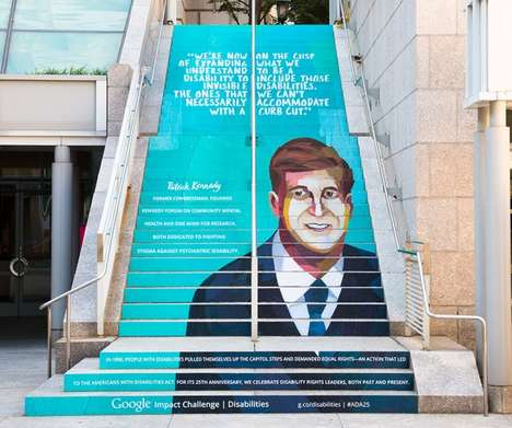 Accessibility Awareness Art - Google's Stair Art Shares Words from Disability Rights Heroes