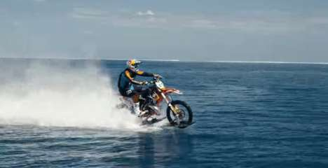 Surfing Bike Videos - Robbie Maddison's 'Pipe Dream' Takes a Dirt Bike on the Open Water
