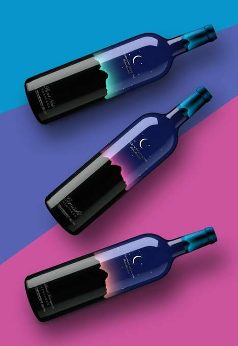 Skyscape Wine Bottles - These Colorful Wine Bottle Designs Mimic the Look of the Northern Lights