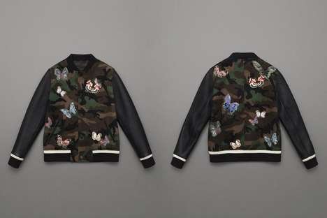 High-Fashion Varsity Jackets - These Jackets by Valentino are Stitched with Butterflies and Flowers