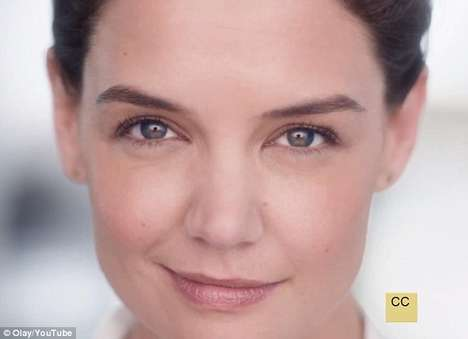 Minimalist Anti-Aging Ads - This Olay Ad Features Katie Holmes Looking Fresh-Faced and Natural