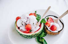 Seasonal Vegan Ice Creams - The Dairy-Free Ice Cream Recipe Mixes Coconut, Strawberry and Watermelon