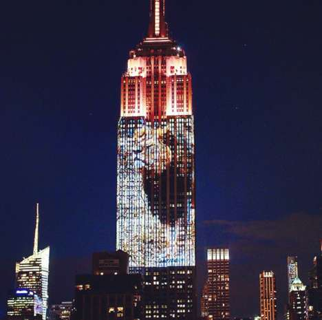 Endangered Animal Projections - The Empire State Building Reminds Us to Save the Lions and Others