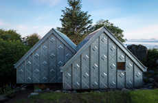 Armored Art Studios - The Metal Exterior of This Rural Cabin Conceals a Full Pine Wood Interior