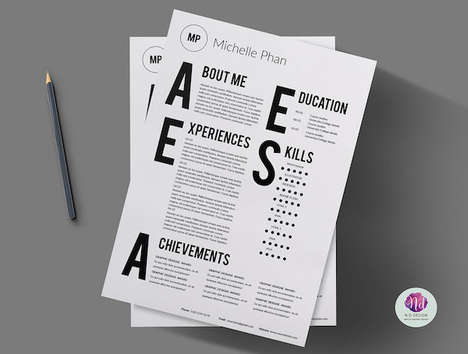 Modern Typographic CVs - This Minimalist Resume Template Features Simple Oversized Ypography