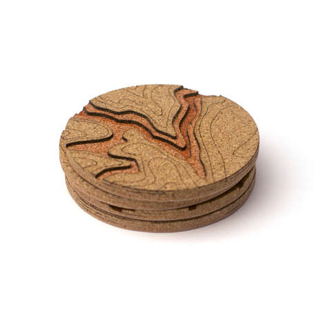 Topographic Cork Coasters - The 'Topo Coaster' Pays Tribute to the American Landscape