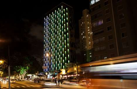 Reactive LED Facades - The Exterior of the Hotel WZ Jardins Responds to Outside Stimuli