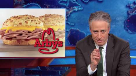 Deprecating Burger Videos - Arby's Pays Tribute to Jon Stewart's Last Daily Show with a Fun Video