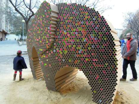 Cardboard Animal Sculptures - This Elephant Sculpture was Made from 6,000 Recycled Cardboard Tubes