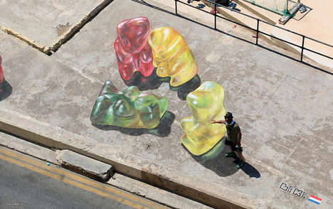Candy Street Art - These Images Feature Lifelike Gummy Bear Graffiti Portraits