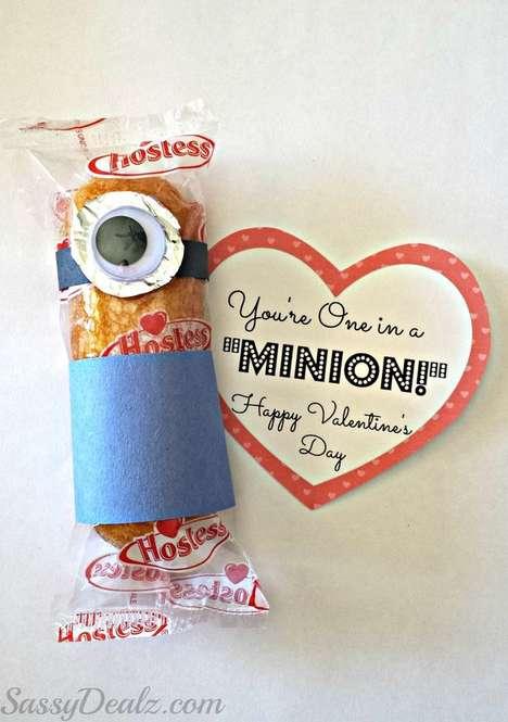Customizable Cartoon Snacks - These Twinkie Minion Treats Celebrate Valentine's Day Festivities