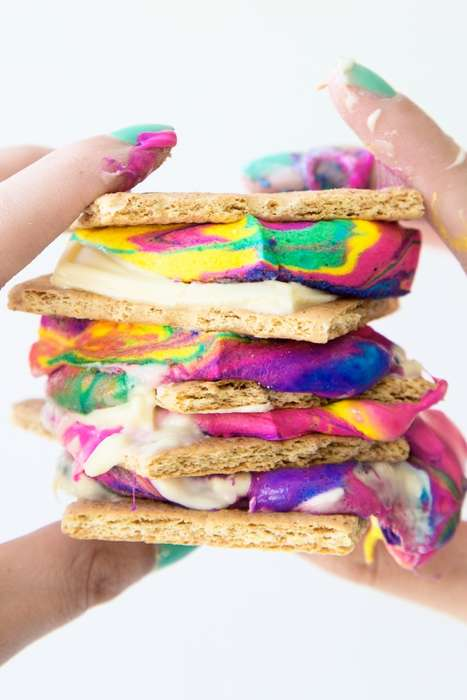 Rainbow Smores Recipes - These Colorful Treats are Perfect for Celebrating National S'mores Day