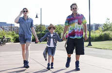 Family-Inclusive Footwear - The Blue Boot Line of Timerlands is Promoted with a Family Image Series