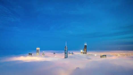 Floating Skyscraper Photography - Peter Tsai's Photos Showcase Chicago's Skyline Up Among the Clouds