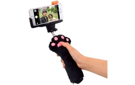 Cat-Themed Selfie Sticks - The Cat Paw Selfie Stick is a Photography Tool for Feline Fanatics