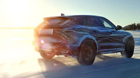 Camouflage Publicity Ads - Jaguar's F-Pace SUV Shows off its Extreme Weather Adaptability