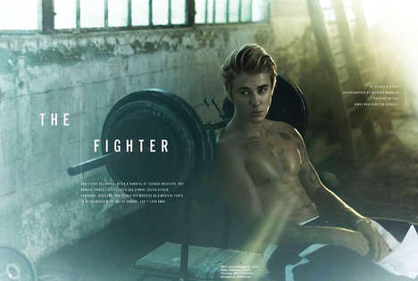 Celebrity Gym Rat Editorials - Cosmopolitan Magazine's 'The Fighter' Story Features Justin Bieber