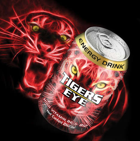 Electrifying Lion Branding - This Energy Drink is Packaged with a Roaring Red Lion Label on Each Can