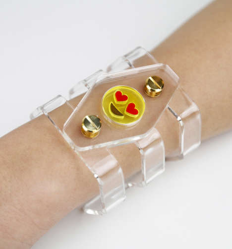 Transparent Emoji Bracelets - Nadia Gabriella's Expression Love Cuff Features a Lovestruck Emoticon