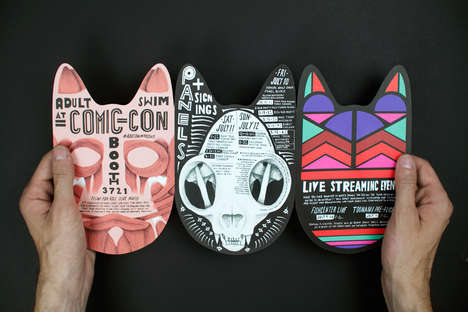 Tribal Cat Invitations - Promotions for Adult Swim's Comic-Con Booth Celebrate Colorful Cats