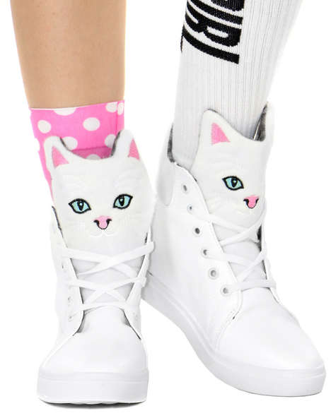 Playful Feline Sneakers - Shop Jeen's Kitty High Tops Will Appeal to Animal Lovers