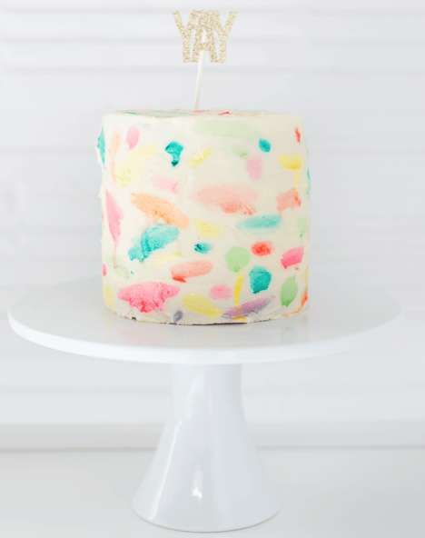 Colorful Cake Decor - The DIY Abstract Watercolor Cake From Sugar and Cloth Sets Off Any Celebration