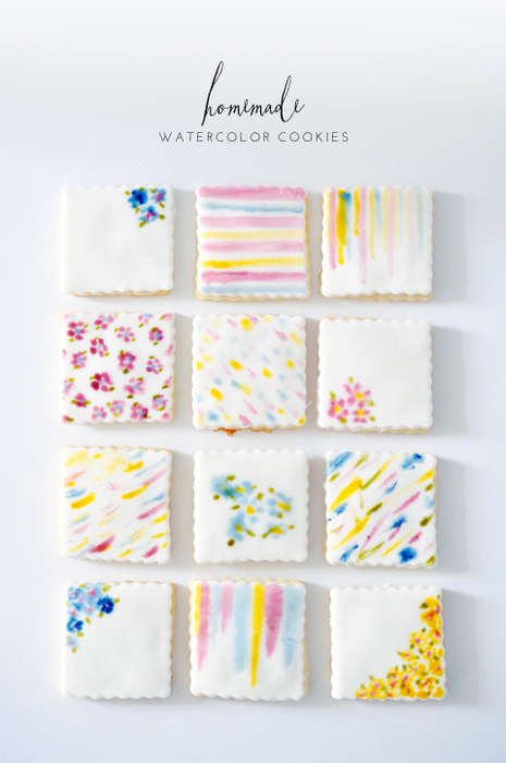 DIY Watercolor Cookies - These Colorful Cookies Showcase Simple Yet Impressive Floral Patterns